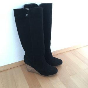 Trendige Stiefel mit Keil-Absatz in Holz-Optik