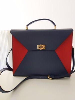 trendige Tasche • Genuine Leather • NEU • dunkelblau / rot / gold