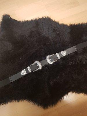 H&M Ceinture doubles noir-argenté