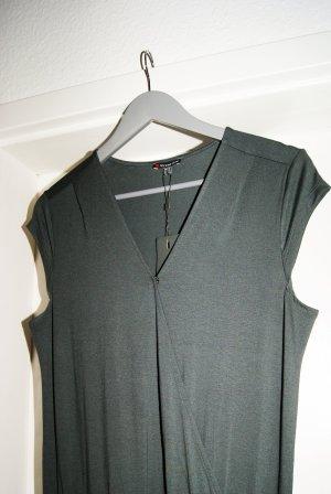 Trendiger Jumpsuit in dunklem Khaki-/Grünton (mit Wrap-Detail und langen Beinen, elastisches Material)  - NEU mit Etikett!!