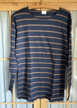 Alba Moda Pull tricoté bleu foncé-brun