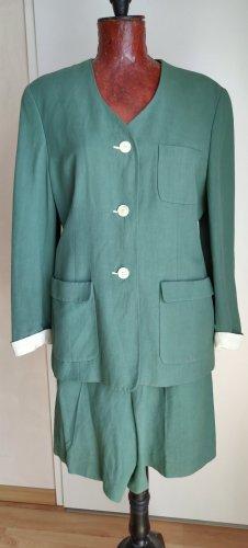 Zapa Tailleur pantalone verde bosco-bianco sporco Lino