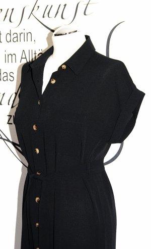 Trendiges schwarzes Maxikleid im Blusenstil (mit Gürtel, angenehm luftiges Material) - NEU!!