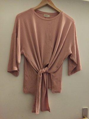 24Colours Geribd shirt stoffig roze Gemengd weefsel