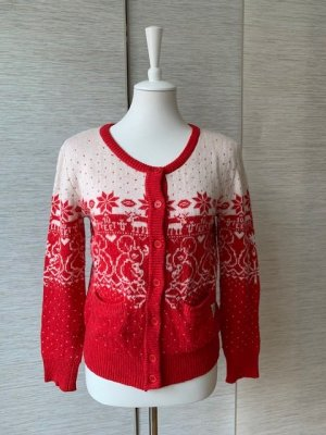 10 FEET Veste en tricot blanc-rouge laine angora