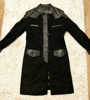 Trendy Bikermantel Wollmantel schwarz mit Lederdetails von Proud Fashion Gr. 34