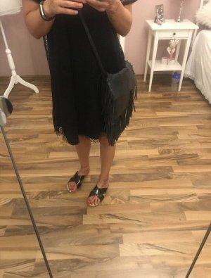 Trendy Echtleder Handtasche - Umhängetasche mit Fransen