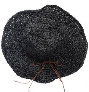 Cappello a falde larghe nero-marrone