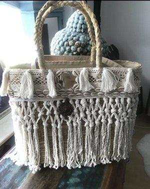 Bolso tipo cesta blanco puro