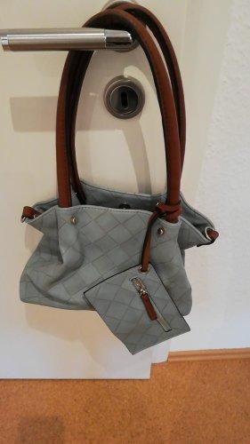 Trendy Tasche blue braun mit Portemonnaie