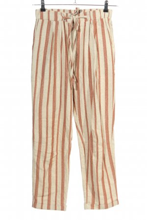 TRENDYOL Pantalon en lin brun-crème motif rayé style décontracté