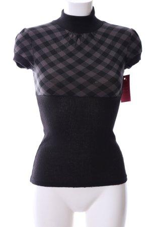 T-Shirt schwarz-hellgrau Karomuster Casual-Look