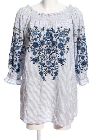 Trf by Zara Bluzka typu carmen niebieski Wzór w paski W stylu casual