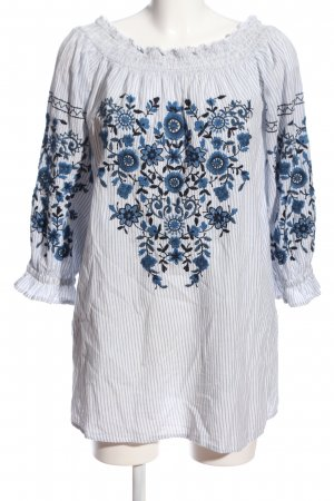 Trf by Zara Blusa alla Carmen blu motivo a righe stile casual