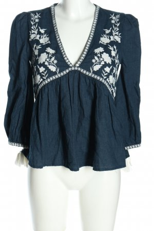 Trf by Zara Langarm-Bluse blau-weiß Blumenmuster Casual-Look