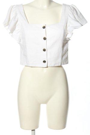 Trf by Zara Bluzka z falbankami biały W stylu casual