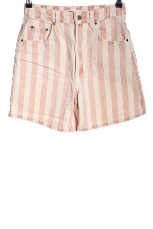 TRF Denim Jeansshorts pink-weiß Streifenmuster Casual-Look