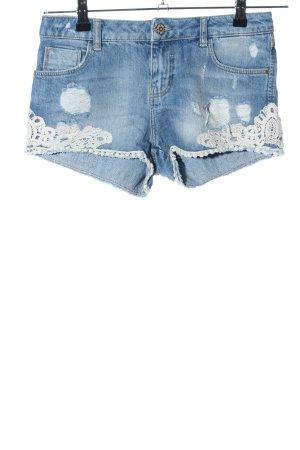 TRF Denim Pantalón corto de tela vaquera azul-blanco puro look casual