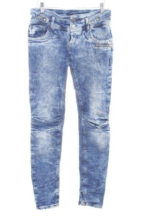 TRF Denim Skinny Jeans stahlblau-blau Washed-Optik