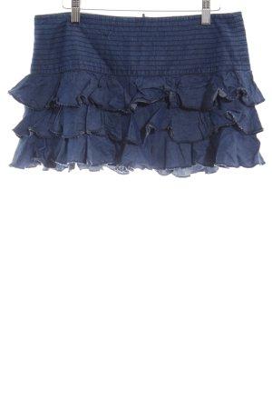 TRF Denim Volanten rok donkerblauw gelaagde uitstraling