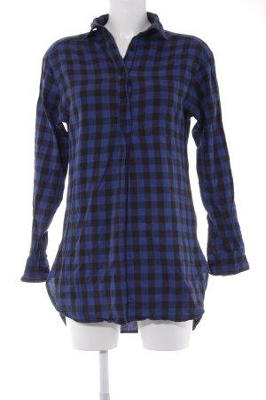 TRF Long-Bluse blau-schwarz Karomuster Casual-Look