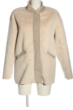 trf_outerwear Manteau en fausse fourrure blanc cassé style décontracté