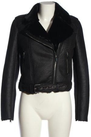 TRF Outwear Veste en fausse fourrure noir style décontracté