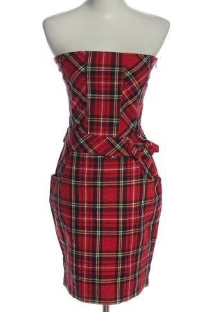 TRF schulterfreies Kleid rot-schwarz Allover-Druck Elegant