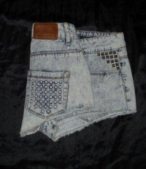 Trf ZARA blaue Hotpants helle Waschung Nieten Jeans Shorts Hose kurz 38 40 H M L