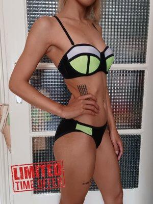 Triangle Bikini-Set [Schwarz-Weiß-Neongelb, Gr. XS, Cup 85B, mit Push-Up]