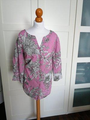 Triangle Bluse weiß pink Blumen gestreift S. Oliver rosa Streifen 42 44 46