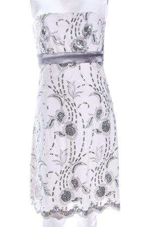 Tribeca New York Bandeaukleid weiß-silberfarben Allover-Druck Elegant