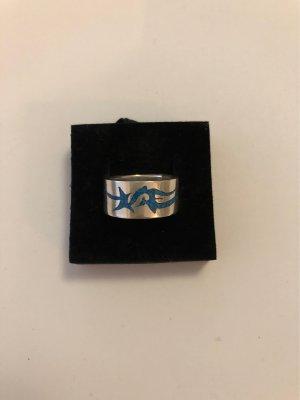 Zilveren ring zilver-turkoois