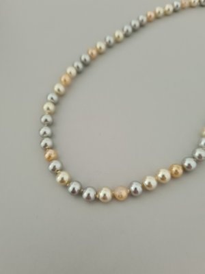 Vintage Naszyjnik z perłami srebrny-kremowy