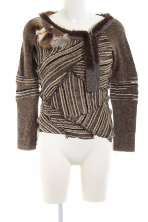 Tricot Chic Longsleeve braun-creme Streifenmuster Casual-Look
