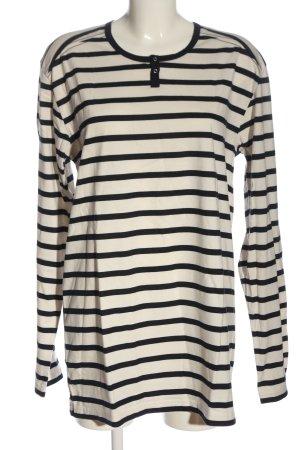 Trigema Longsleeve natural white-black striped pattern casual look