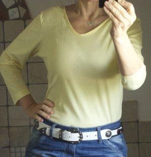 Trigema T-Shirt, Basic, 3/4 Arm, 100% Baumwolle, Jersey, gelb, zitronengelb, Pastell, schöner V-Ausschnitt vorne und hinten, made in Germany, supergekämmt (glattes, feines Material) neu, ungetragen, neuwertig, Gr. L Gr. 40/42