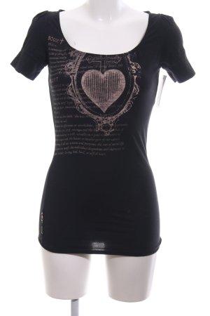 Triple Five Soul T-Shirt schwarz-pink Motivdruck Casual-Look