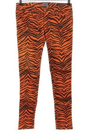 Tripp NYC Slim Jeans hellorange-schwarz Allover-Druck Casual-Look