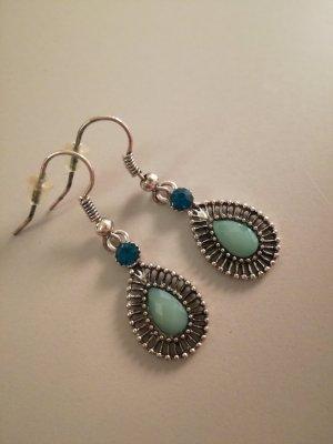 tropfenförmige Ohrringe hellblau/silber