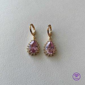 ♈️ Tropfenförmige vergoldete Ohrringe mit Zirkonia und rosa Edelstein