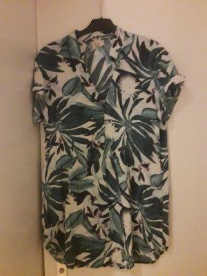 Anna Glover × H&M Koszulowa bluzka leśna zieleń-biały Wiskoza