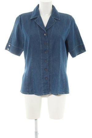 tru Jeansbluse blau meliert Casual-Look