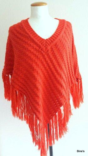 true fashion Poncho en tricot orange fluo-rouge tissu mixte