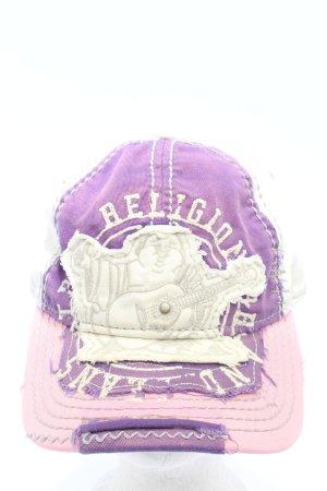 True Religion Gorra de béisbol blanco-lila letras impresas look casual