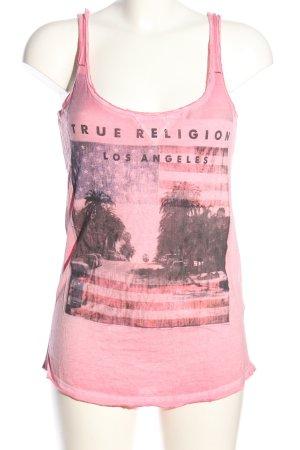 True Religion Basic Top pink Motivdruck Casual-Look