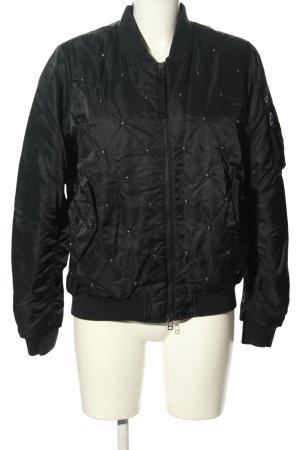 True Religion Bomberjack zwart quilten patroon casual uitstraling