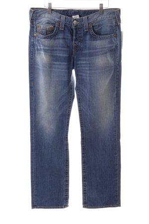 True Religion Boot Cut Jeans blau Logo-Applikation aus Leder
