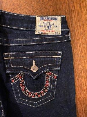 True Religion Jeansowe spodnie dzwony ciemnoniebieski