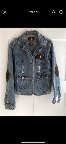 True Religion Jeansowa kurtka brązowy-błękitny